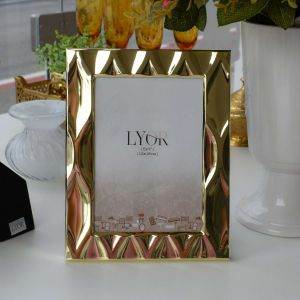 Porta Retrato De Aço Diamond Dourado 13x18cm - 58170