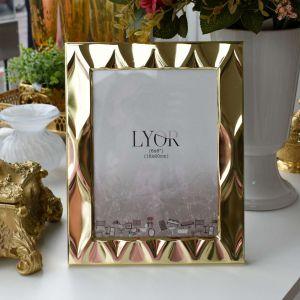 Porta Retrato De Aço Diamond Dourado 15x20cm - 58169