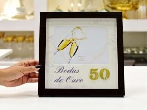 Porta Retrato De Plástico Bodas De Ouro 13x18cm - 56357