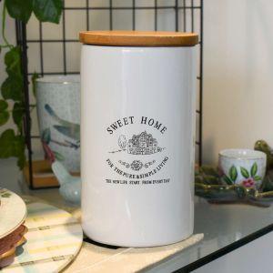 Pote De Cerâmica Com Tampa De Madeira Sweet Home 1l - 58409