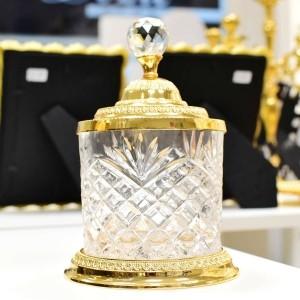 Pote Multiuso Médio De Zamac Cristal Dourado - 55006