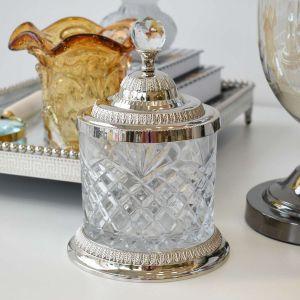 Pote Multiuso Extra Grande De Zamac Cristal Prateado 15x21,5cm - 58404