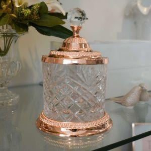 Pote Multiuso Médio De Zamac Cristal Rose 12,5x18,5cm - 58417