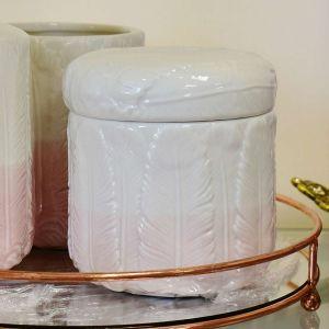Pote Porta Algodão/Cotonete Em Cerâmica Penas Branco Com Rosa - 57671