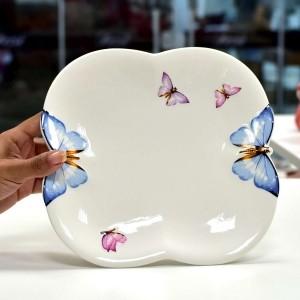 Prato De Jantar Em Porcelana Borboleta - 10556