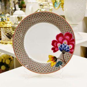 Prato De Sobremesa Cáqui Floral Fantasy Pip Studio - 53476