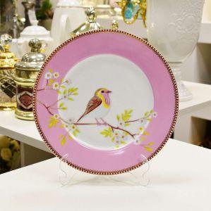 Prato De Sobremesa Rosa Passarinho Floral Pip Studio - 60650