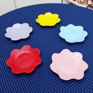 Prato De Sobremesa Flor Em Cerâmica Diversas Cores - 53225