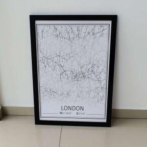 Quadro Em Madeira London Preta E Branca - 57850