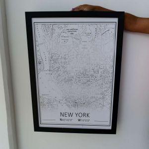 Quadro Em Madeira Nova York Preto E Branco - 57849