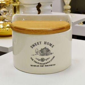 Saleiro De Parede Em Cerâmica Sweet Home Com Tampa Em Madeira 620ml - 56989