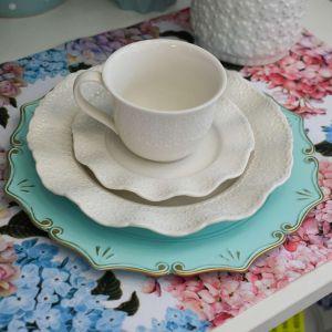 Sousplat Para Chá Verde Com Dourado - 57283