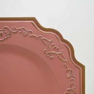 Sousplat Para Jantar Rosa Com Dourado - 57285