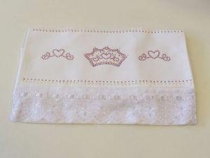 Toalha Para Lavabo Kids Branca Coroa Rosa - 57084