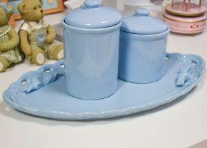 Travessa Oval Azul Em Cerâmica Com Dois Laços - 55189