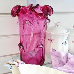 Vaso Alto Em Vidro Murano Rosa Rossetti - 57248