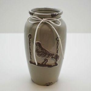 Vaso Class Pássaro Cinza Em Cerâmica - 58246