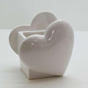 Vaso Coração De Cerâmica Branco Decorativo - 58071