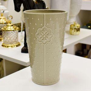 Vaso De Cerâmica Pontos Alto 22cm Cinza - 56862