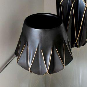 Vaso De Cerâmica Preto Com Desenhos Geométricos - 56391