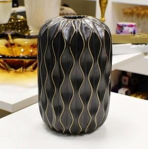 Vaso De Cerâmica Preto Com Desenhos Geométricos - 56392