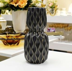 Vaso De Cerâmica Preto Com Desenhos Geométricos - 56395