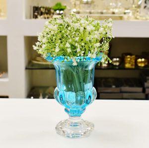 Vaso De Cristal De Chumbo Pequeno Com Pé Sussex Turquesa - 56497