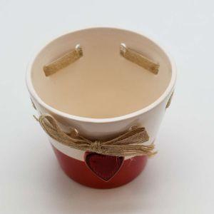 Vaso Em Cerâmica Coração Vermelho - 58060