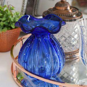 Vaso Murano Palazzo Em Vidro Azul - 58473