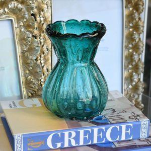 Vaso Murano Veronese Em Vidro Azul - 58477