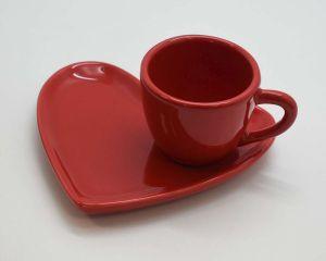 Xícara De Café Coração Em Cerâmica 100ml Vermelha - 58651