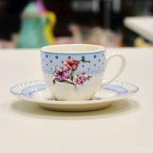 Xícara de Café em Porcelana Blue Flowers - 55793