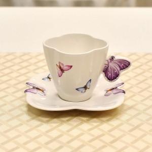 Xícara Para Chá 200ml Em Porcelana Borboleta 10555 - 10683