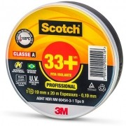FITA ISOLANTE 3M SCOTCH 20 MTS Fita adesiva isolante 19mmx20m Espessura-0,19mm 33+ Scotch 3M CLASSE A  U.V  ABNT NBR NM 60454-3-1 TIPO 9