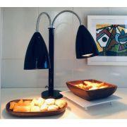 Luminária Aquecedora de Alimentos 2 lâmpadas aquecedora infra-vermelha 220V 250W