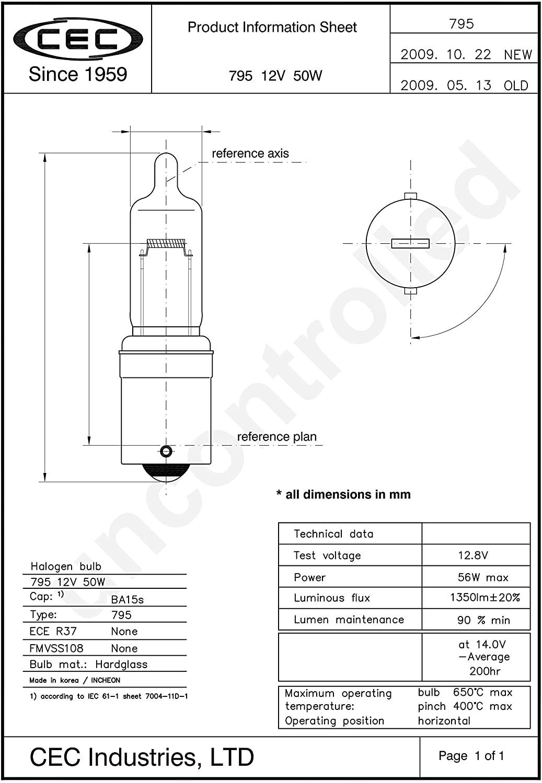 795 - T4 - Miniature - 50 Watt - 12.8 Volt - Single Contact Bayonet - BA15s Base 12V50W  HALOGEN H6M HIGH LOW BEAM