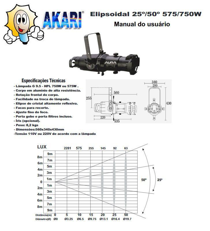 ELIPSOIDAL 575/750W 25°/50° AURA BLACK COMPLETO ZOOM GOBO IRIS