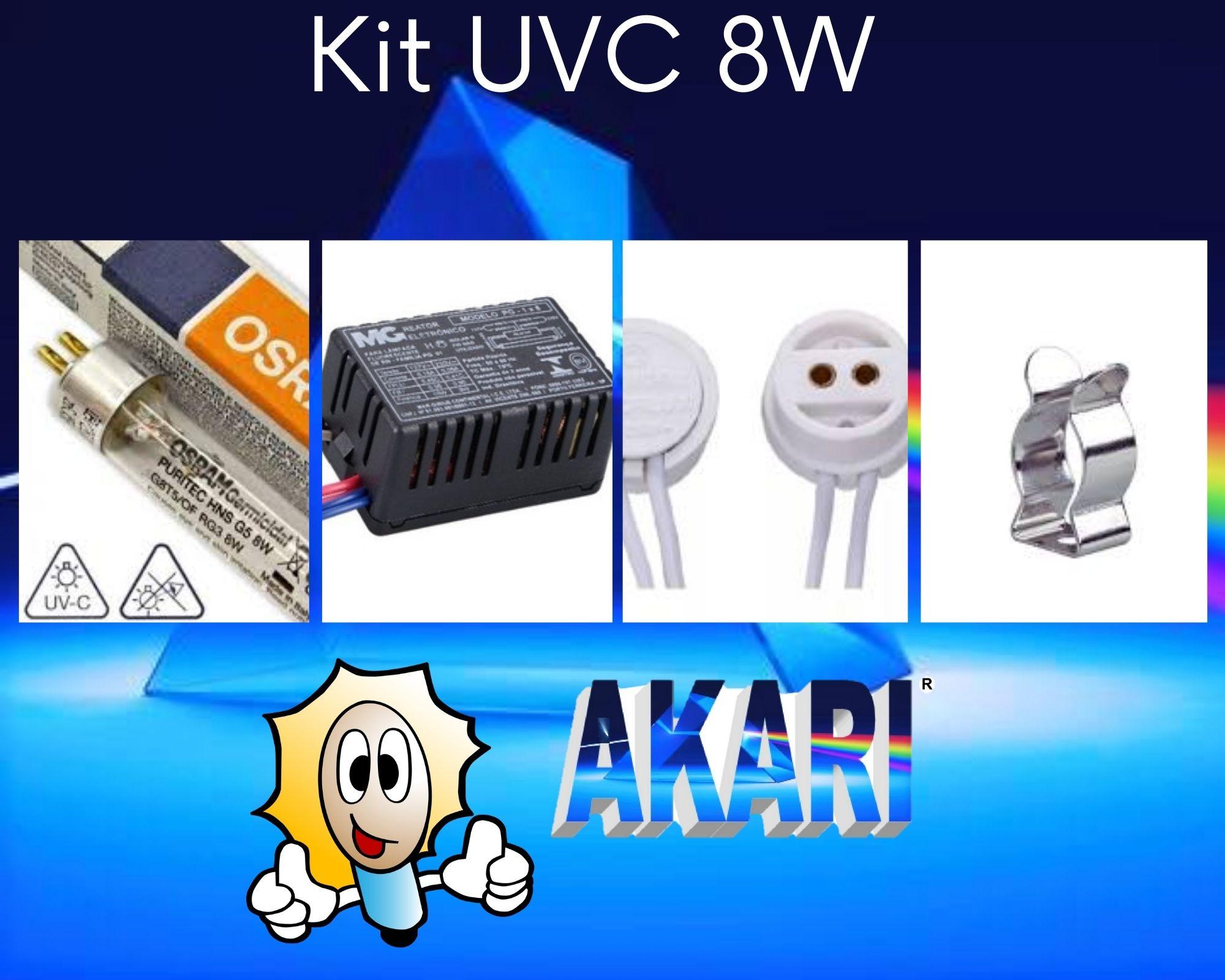 Kit UVC  8W, Lâmpada HNS 8W + Reator + Abraçadeira + Soquete