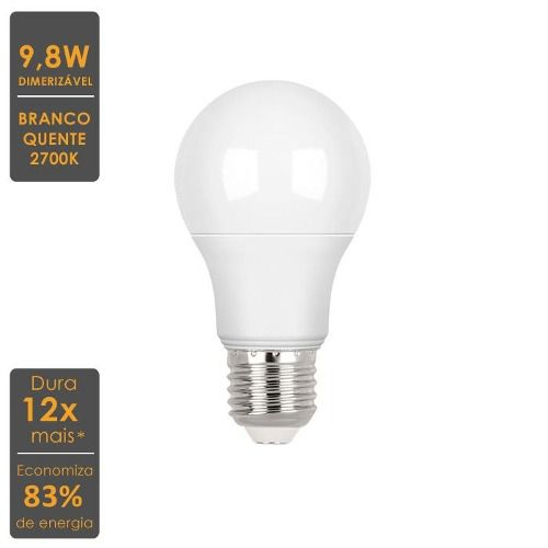 Lâmpada LED Bulbo A60 Brilia Dimerizável 9,8W 2700K Inmetro STH7250/27