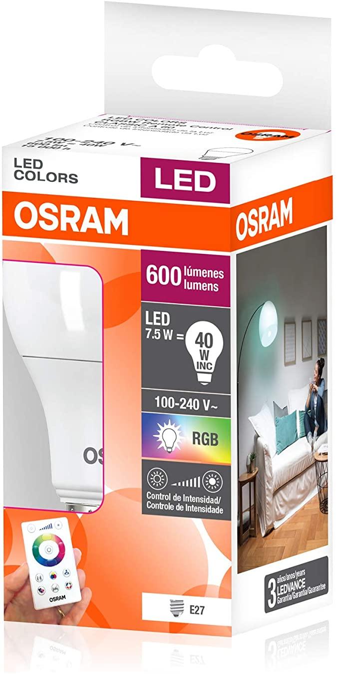 Lâmpada Led Bulbo Com Controle remoto RGBW 7.5w 600lm E27  A60 Biv Osram Lampada  colorida Vermelha R, Verde G, Azul B, Branco W Rosca E27BASE 27mm Comun LED RGBW