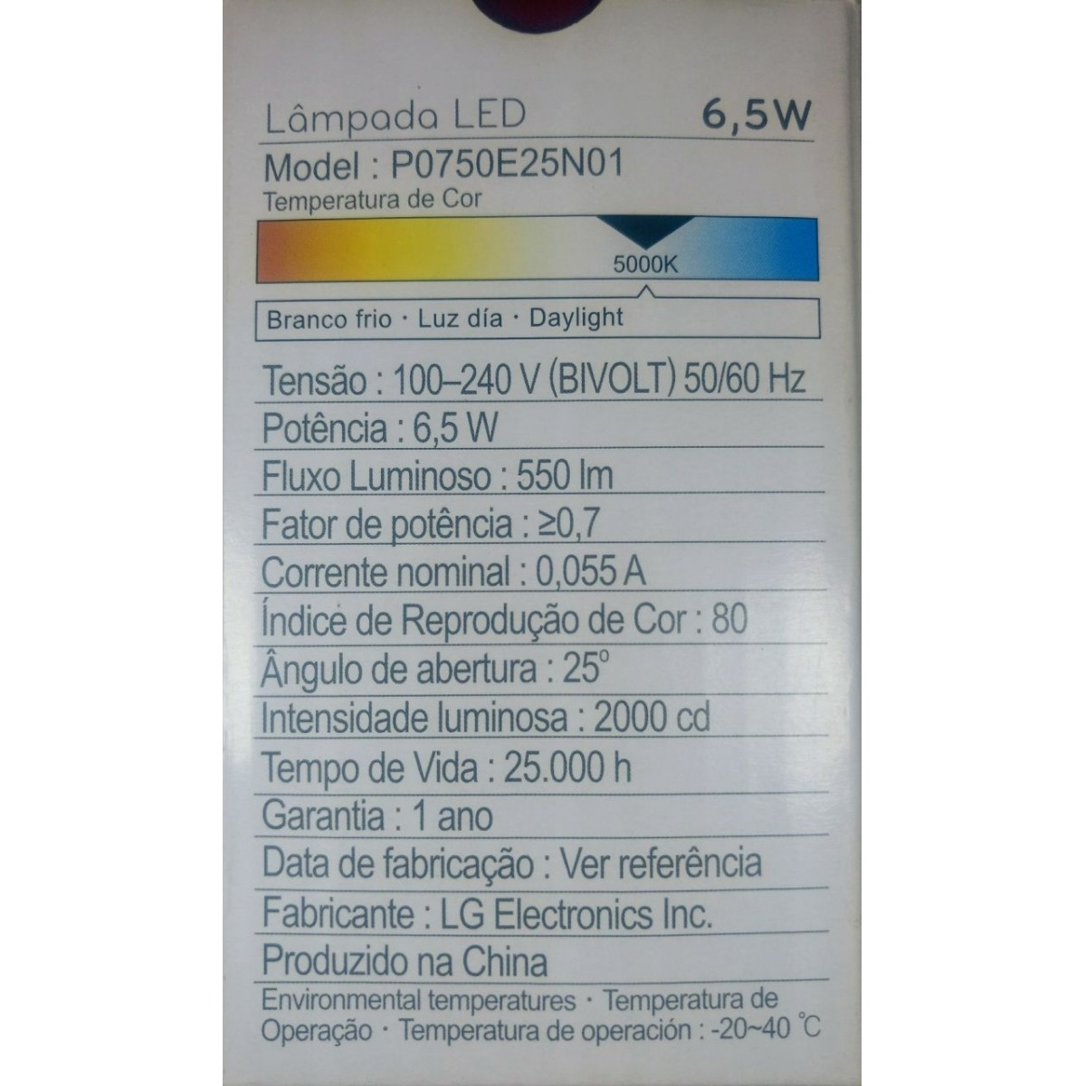 Lâmpada LED Par20 6,5W bivolt E27 5000K LG Par 20
