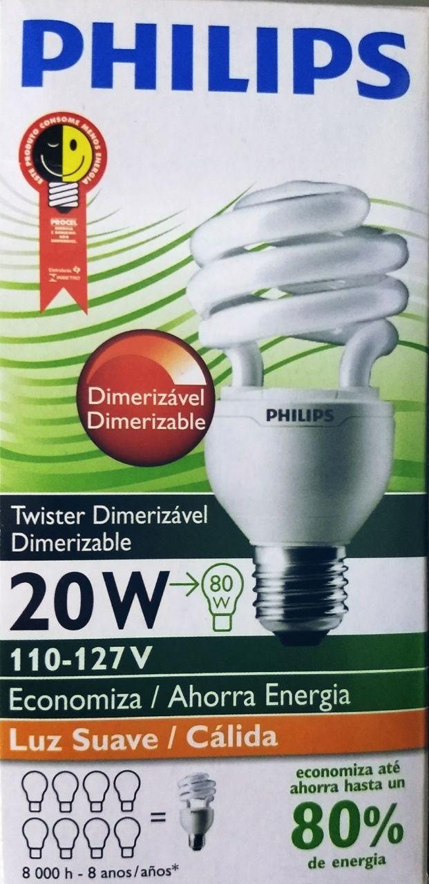 LÂMPADA TWISTER LUZ SUAVE DIMERIZÁVEL 20W 110V - PHILLIPS - REFERÊNCIA: PLWDIM20W127VT2