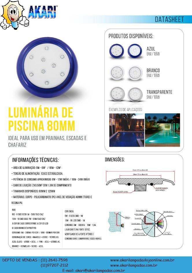 Luminária de Piscina PVC Branco 80mm 9W 12V CP.ROSCA 6500K (50016)