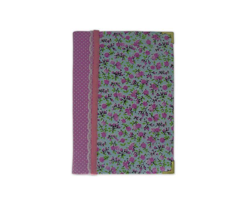 Capa de Hinário CCB Medio Tecido com Renda - Rosa escuro - azul rosa e verde