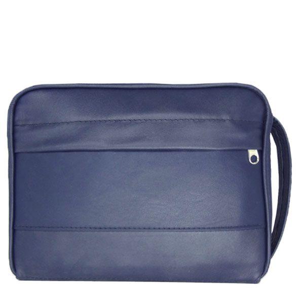 Pasta CCB  com alça e bolso couro azul grande