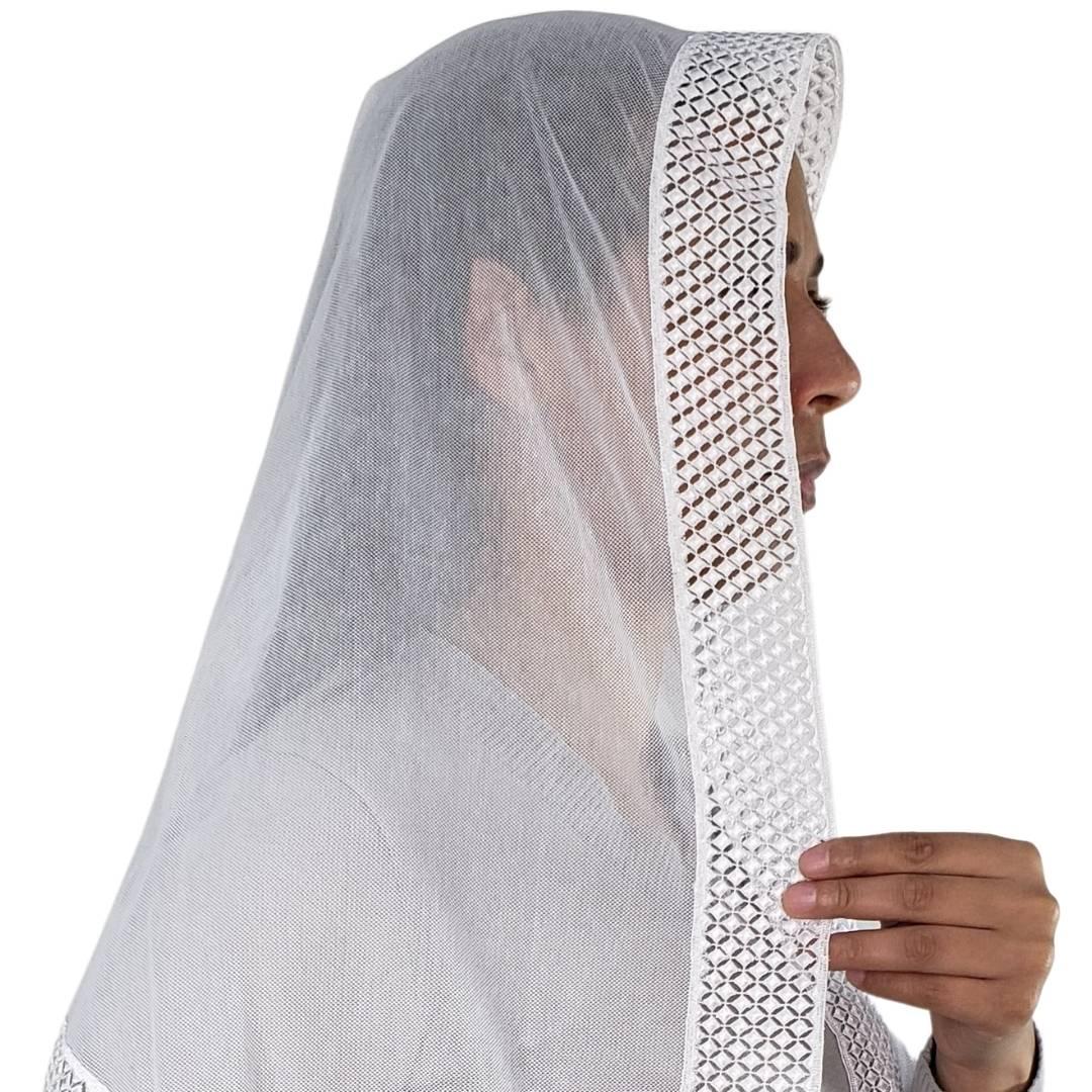 Véu CCB Tecido de Algodão Filó Renda CHL-4203-A