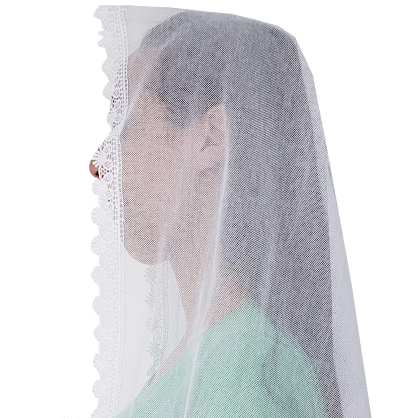 Véu CCB Tecido de Algodão Filó Renda CHL-425