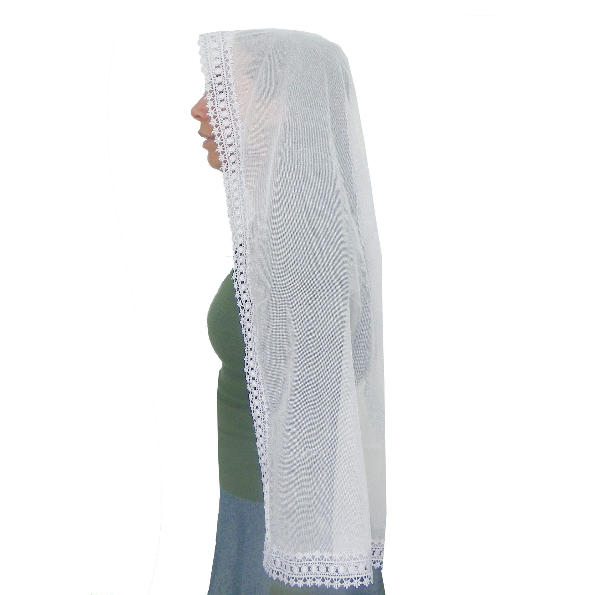 Véu CCB Tecido de Algodão Filó Renda CHL-618