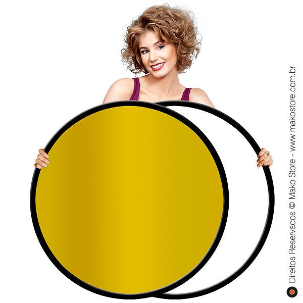 Rebatedor Flexível | Circular Ouro/Branco Ø107cm