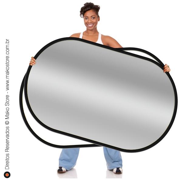 Rebatedor Flexível | Retangular Prata/Branco 102x168cm